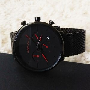 CRRJU Men's Black and Red Watch - NEW